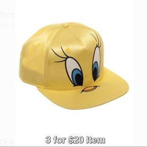 Looney Tunes Tweety Bird Satin Flat Visor Cap 30fbbc07fb3d